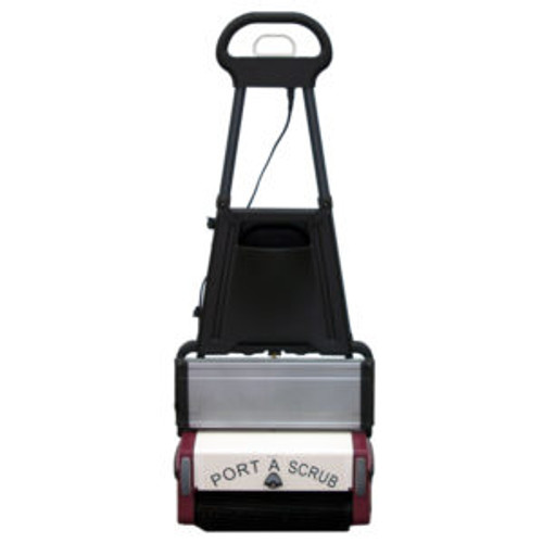 Minuteman: Port a Scrub P12 Multi Surface Batter Scrubber, M12BQP | The P12 is a compact and versatile cleaning machine excels on virtually any type of hard floor including vinyl, tile, hardwood, concrete, short nap carpeting, diamond plate, quarry tile, brick, slate, mosaic, studded rubber, granite, marble, rubber floors, escalators and people movers. Scrubs with two counter-rotating cylindrical brushes and picks up the dirty water in one pass
