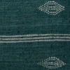 Carter Forest and Ivory Pinstripe Hand Loomed Indian Wool Pillow - 1622- Details