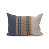 Harbor Lumbar Blue Aso Oke Indigo Linen Pillow - 1420 - Front View