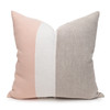Hampton Nude, White Mud Cloth, Natural Linen Pillow - 22 -Front