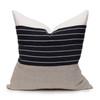Mojave Linen Aso Oke Luxe Vintage Pillow - Noir - 22 - Front