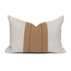 Davina Natural Linen and Aso Oke Lumbar Pillow - 1420- Front View