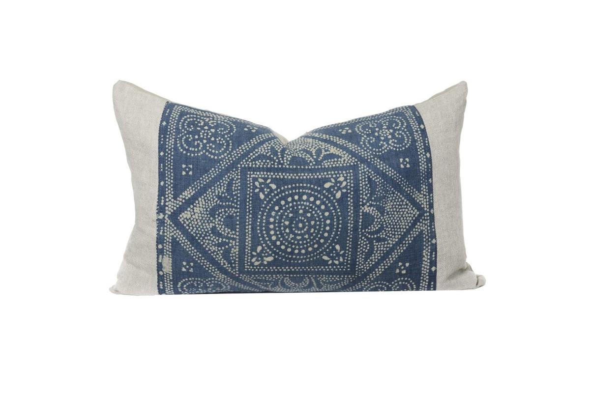 Hmong Indigo Lumbar Pillow - Front