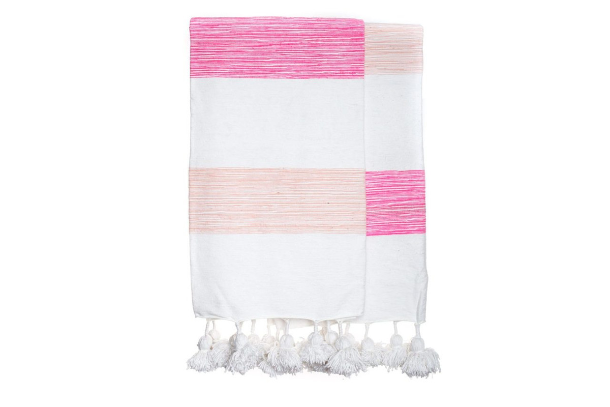 Pink and White Moroccan Pom Pom Blanket
