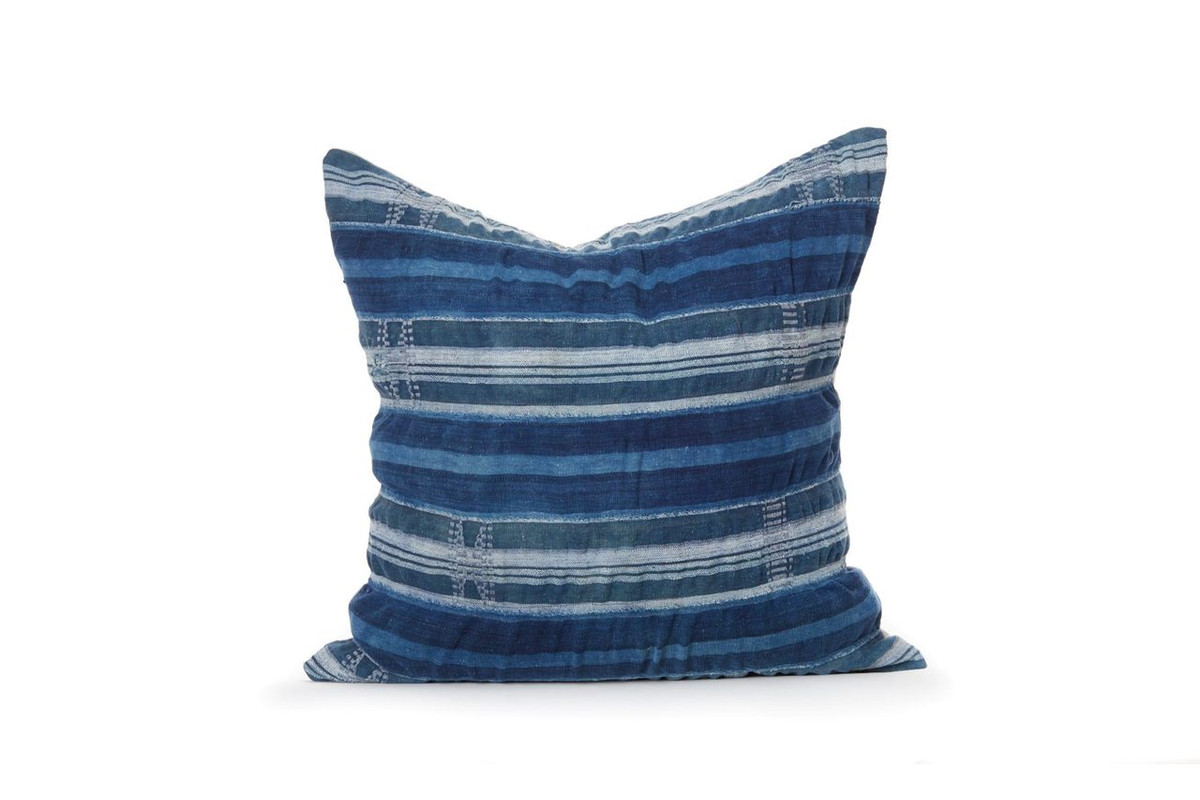 African Indigo Stripe Pillow - Front