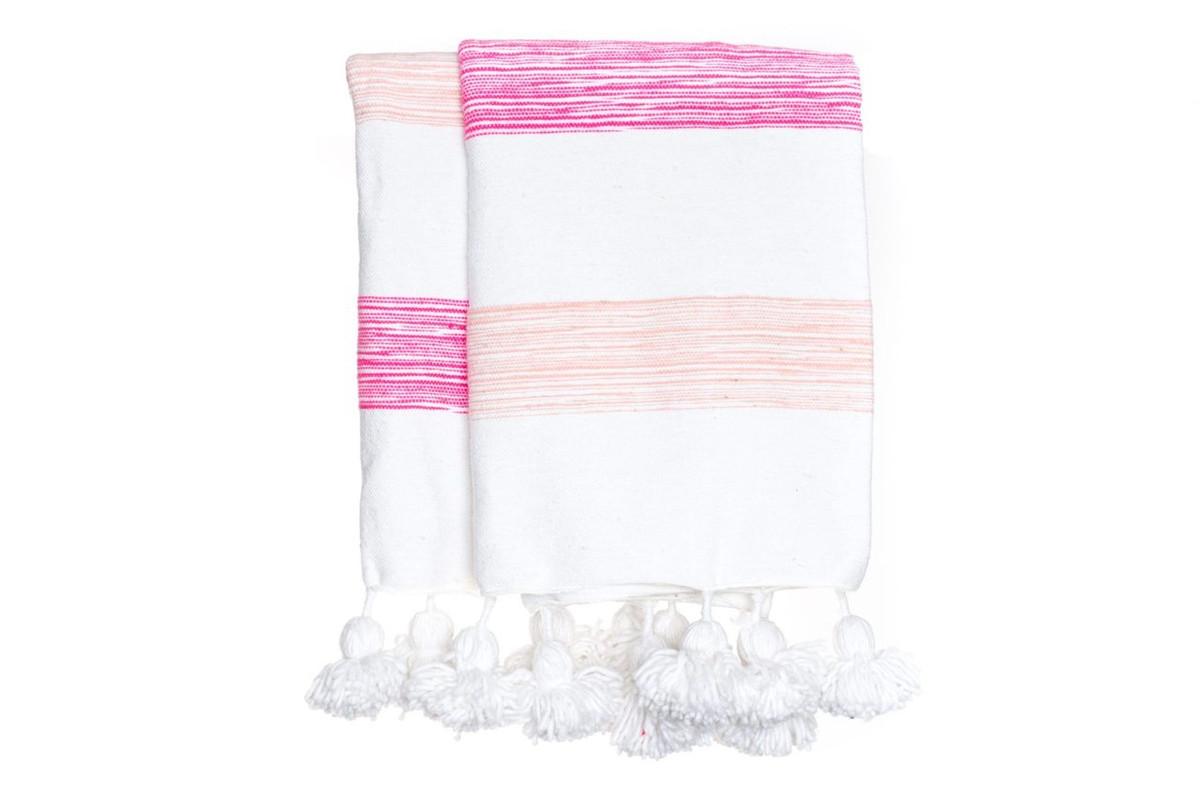 Pink Stripe Moroccan Pom Pom Blanket