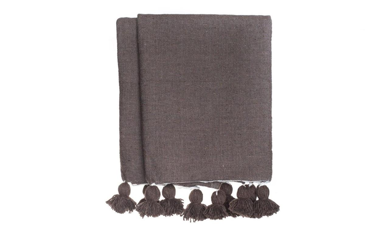 Dark Taupe Cotton Moroccan Pom Pom Blanket