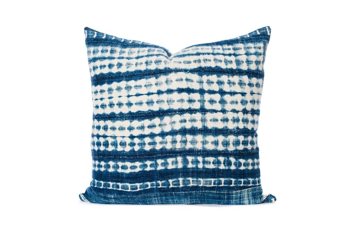 Vintage African Indigo Pillow 22 x 22 - Front