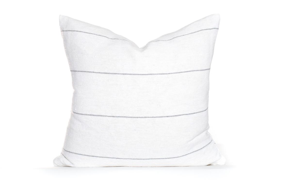 White and Gray Stripe Moroccan Pillow