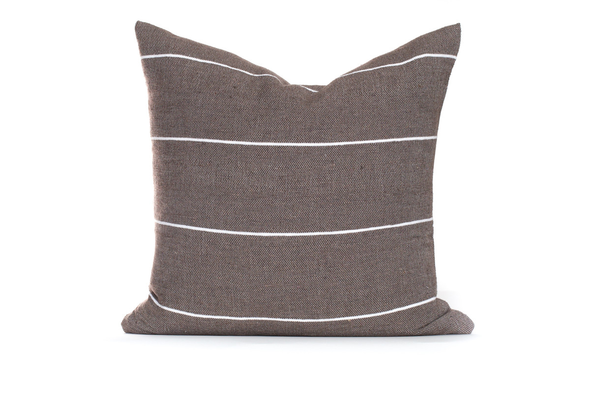 Beach House Taupe and White Stripe Moroccan Pillow