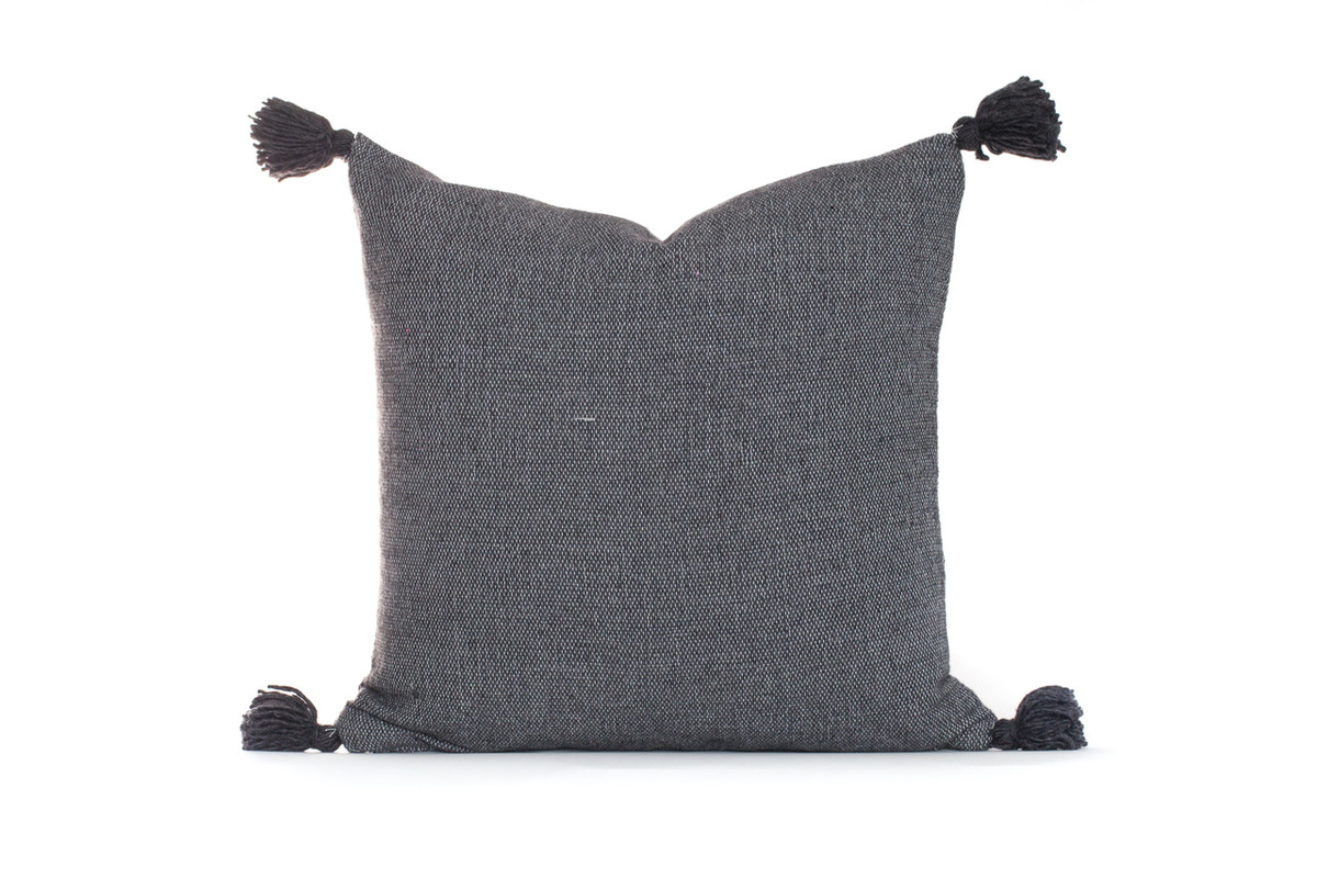 Frenchie Moroccan Tassel Pillow French Gray
