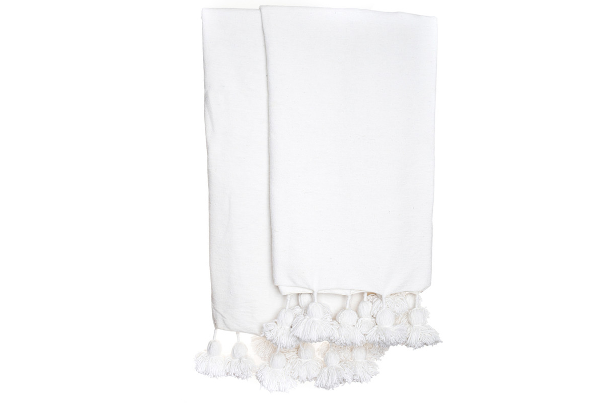 White Moroccan Pom Pom Throw