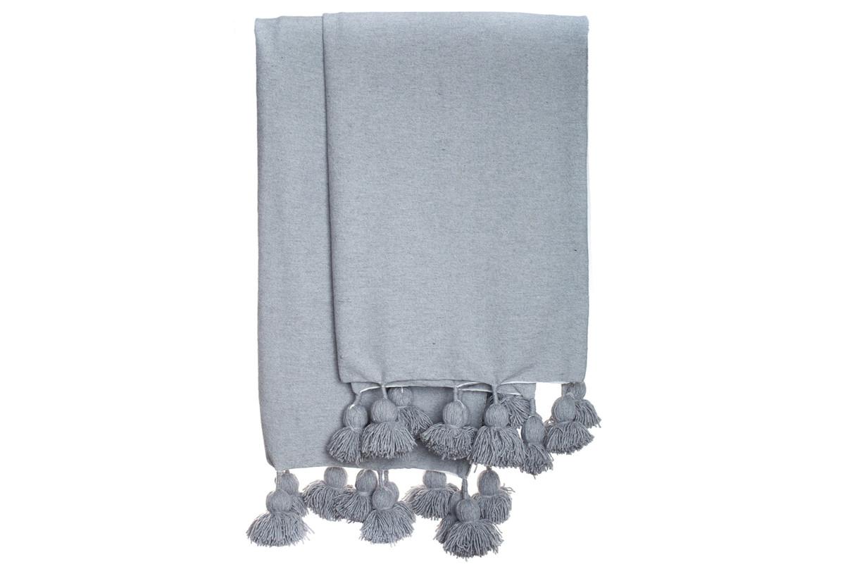 Gray Cotton Moroccan Pom Pom Blanket