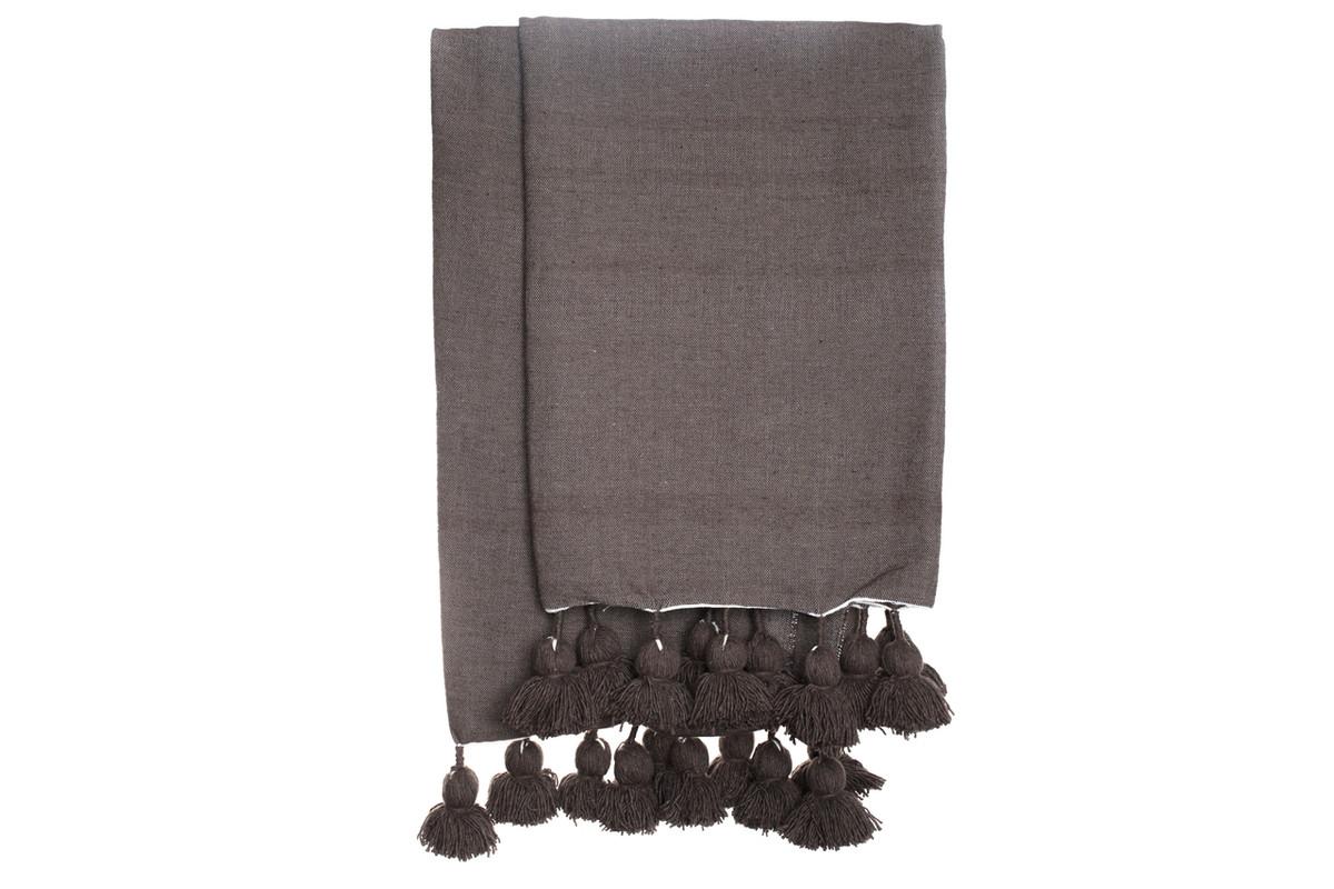 Dark Taupe Cotton Moroccan Pom Pom Throw