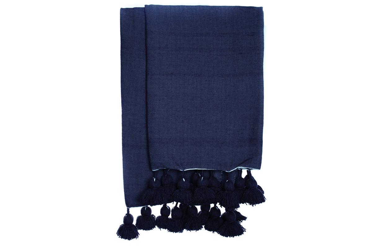 Navy Blue Cotton Pom Pom Throw