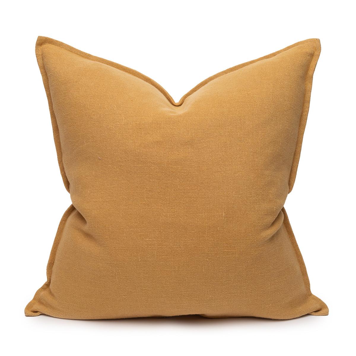 Simone PURE LINEN Pillow Dijon Mustard- 22 - Front