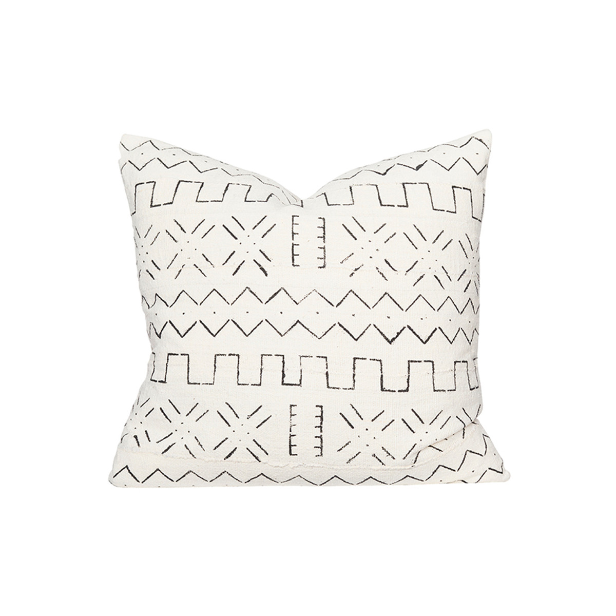 Cross White and Black Mud cloth Euro Pillow - Front