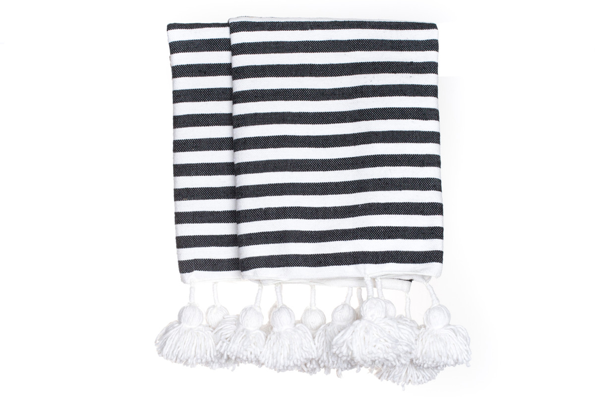 Cabana Stripe Pom Pom Throw in Black and White