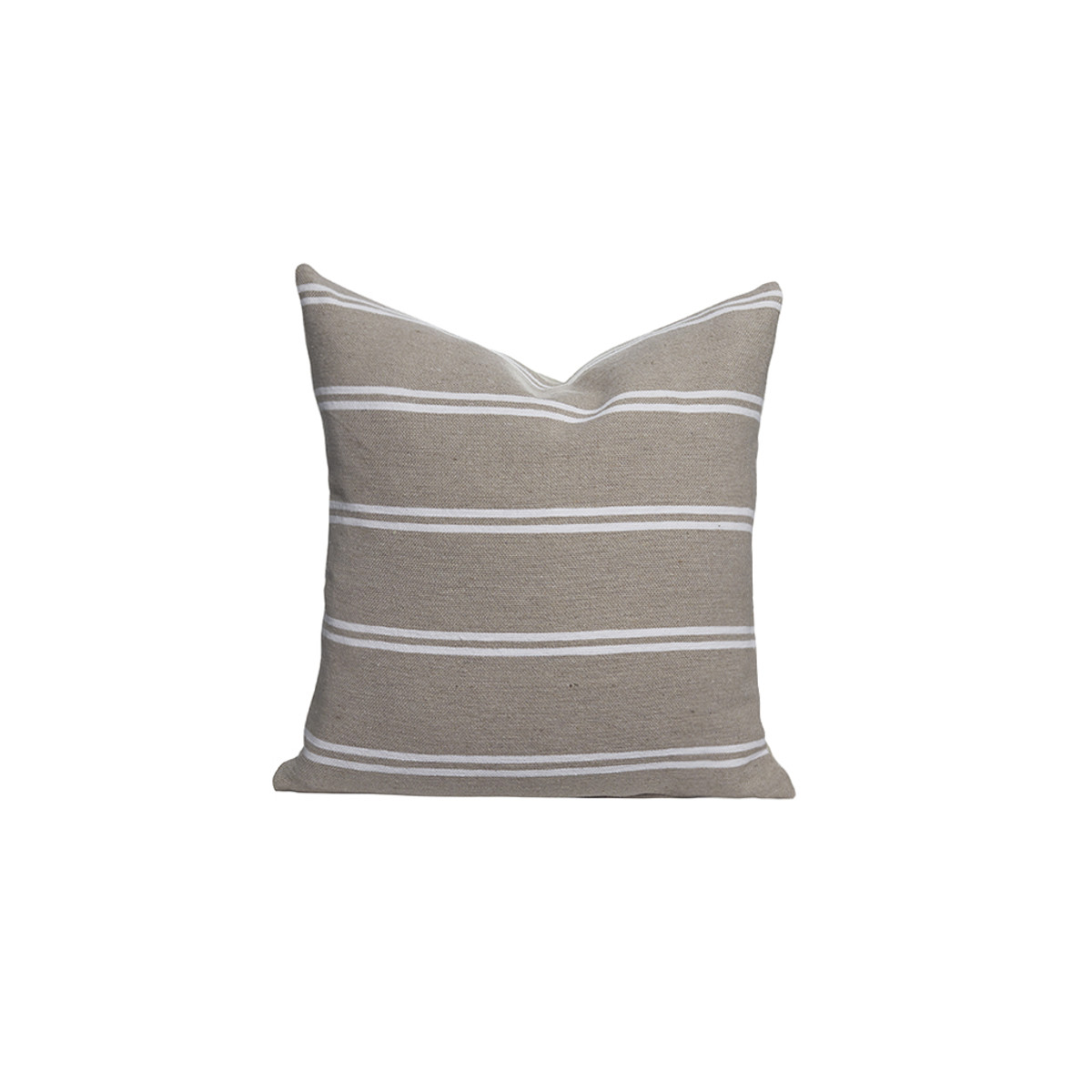Capri Moroccan Cotton Stripe Pillow - Front - Lt. Taupe