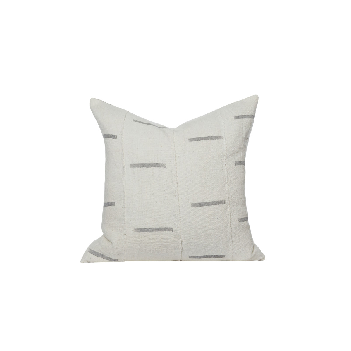 Winter White and Gray Mud Cloth Pillow - Front