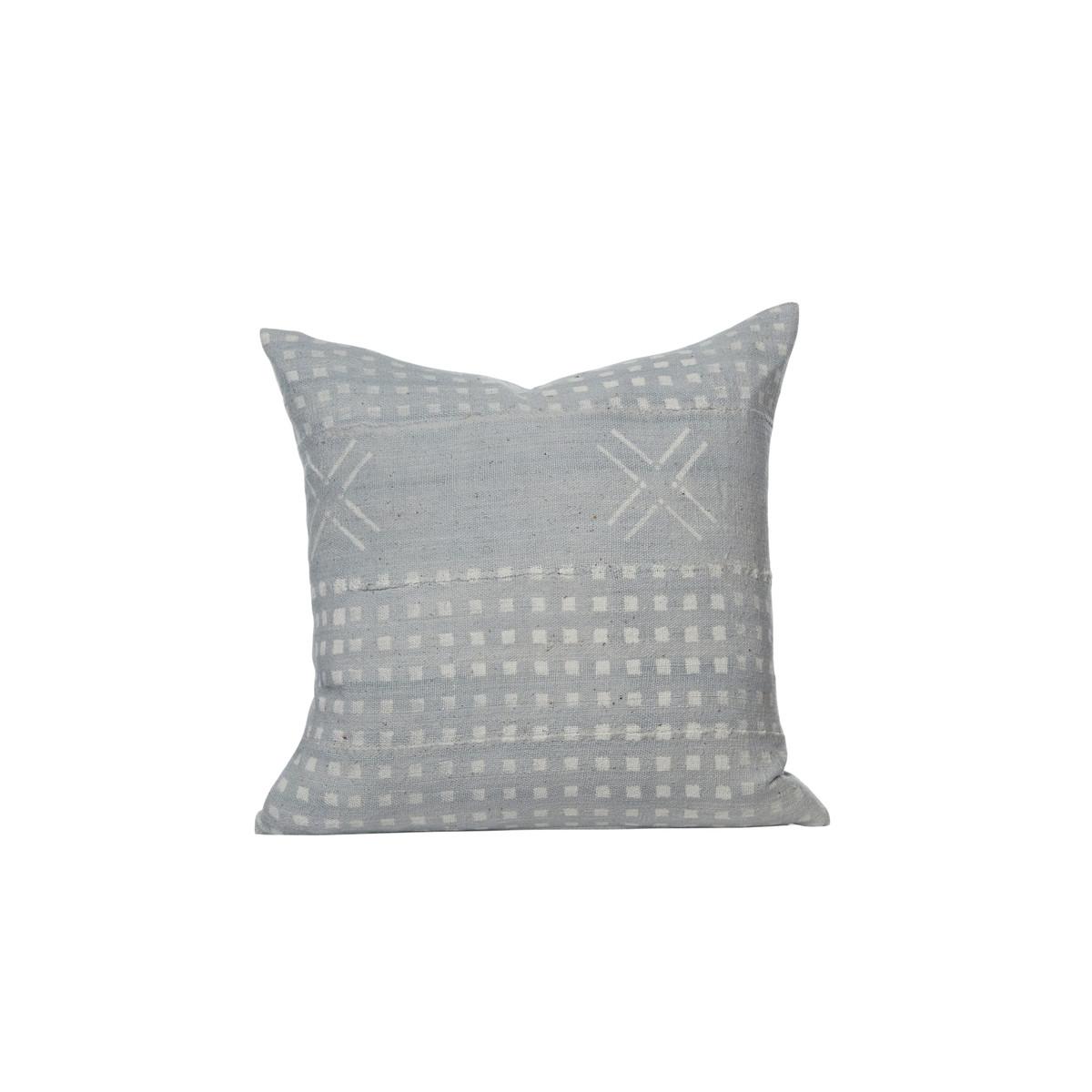 Criss Cross Blue Mud Cloth Pillow  - Front - Cindy Ciskowski Pillow