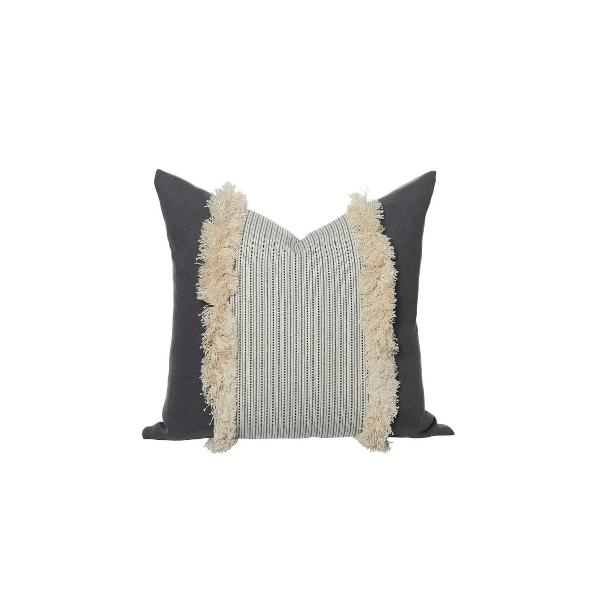 Aurelle Gray Linen Fringe Pillow - Front