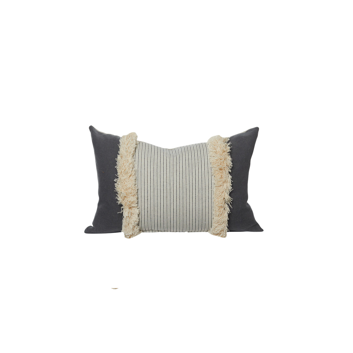 Tera Gray Linen Stripe Fringe Lumbar Pillow - Front
