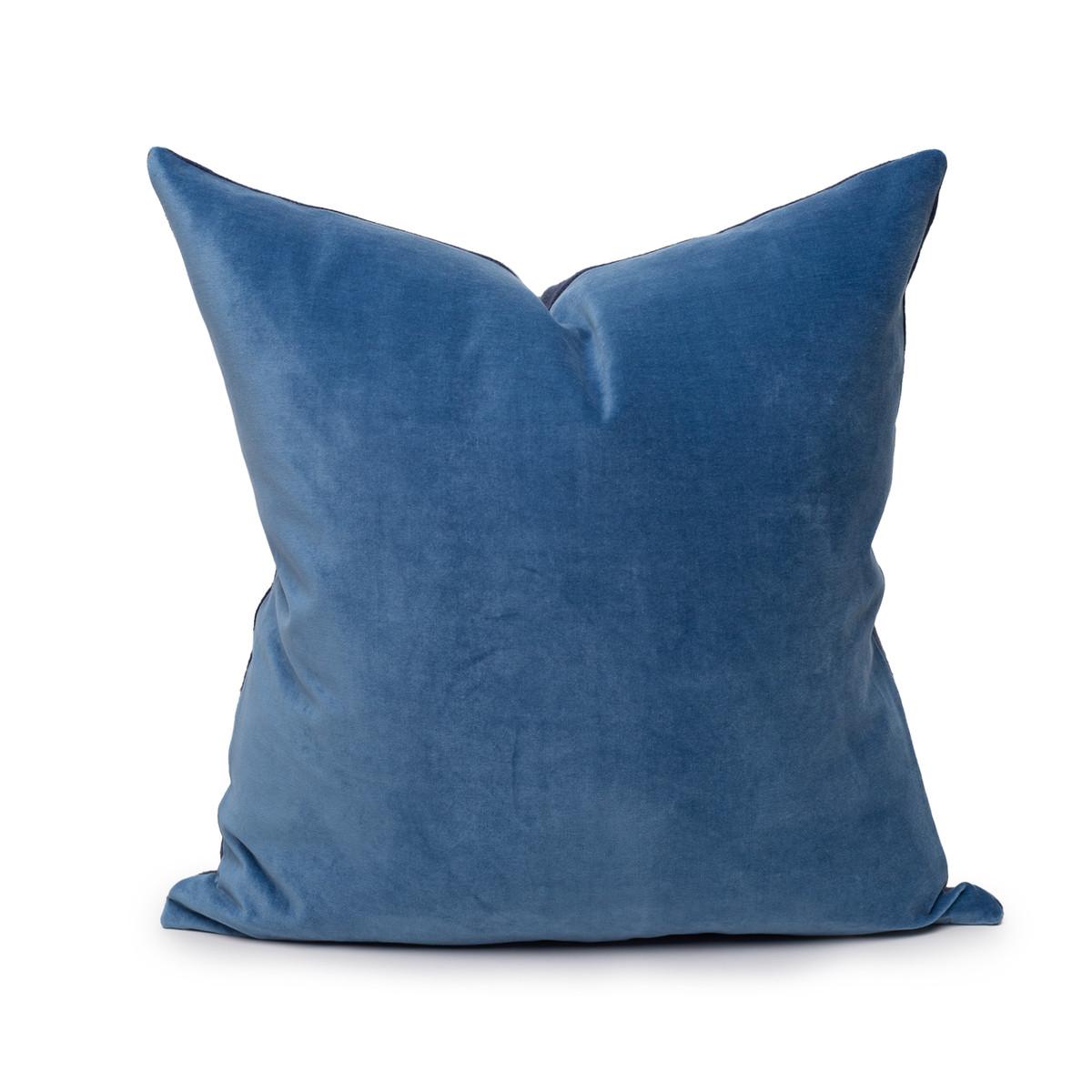 Sophie Kyanite Blue Velvet and Navy Linen Pillow - Front