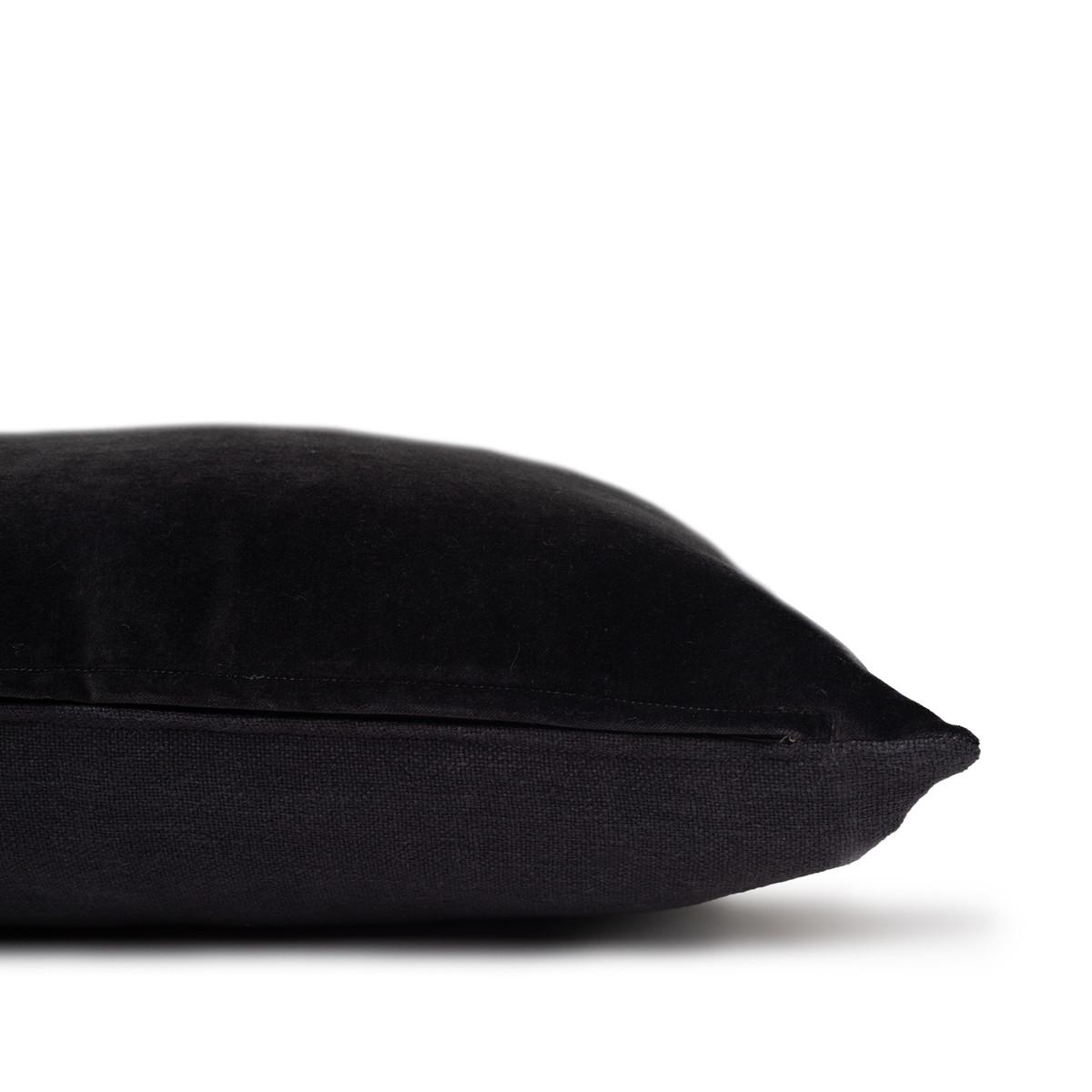 Sophie dark gray shungite cotton velvet decorative pillow - 20 - Side