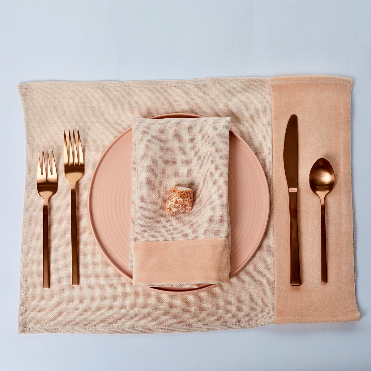 Alexis Napkin Blush Nude Linen and Velvet - Place Setting