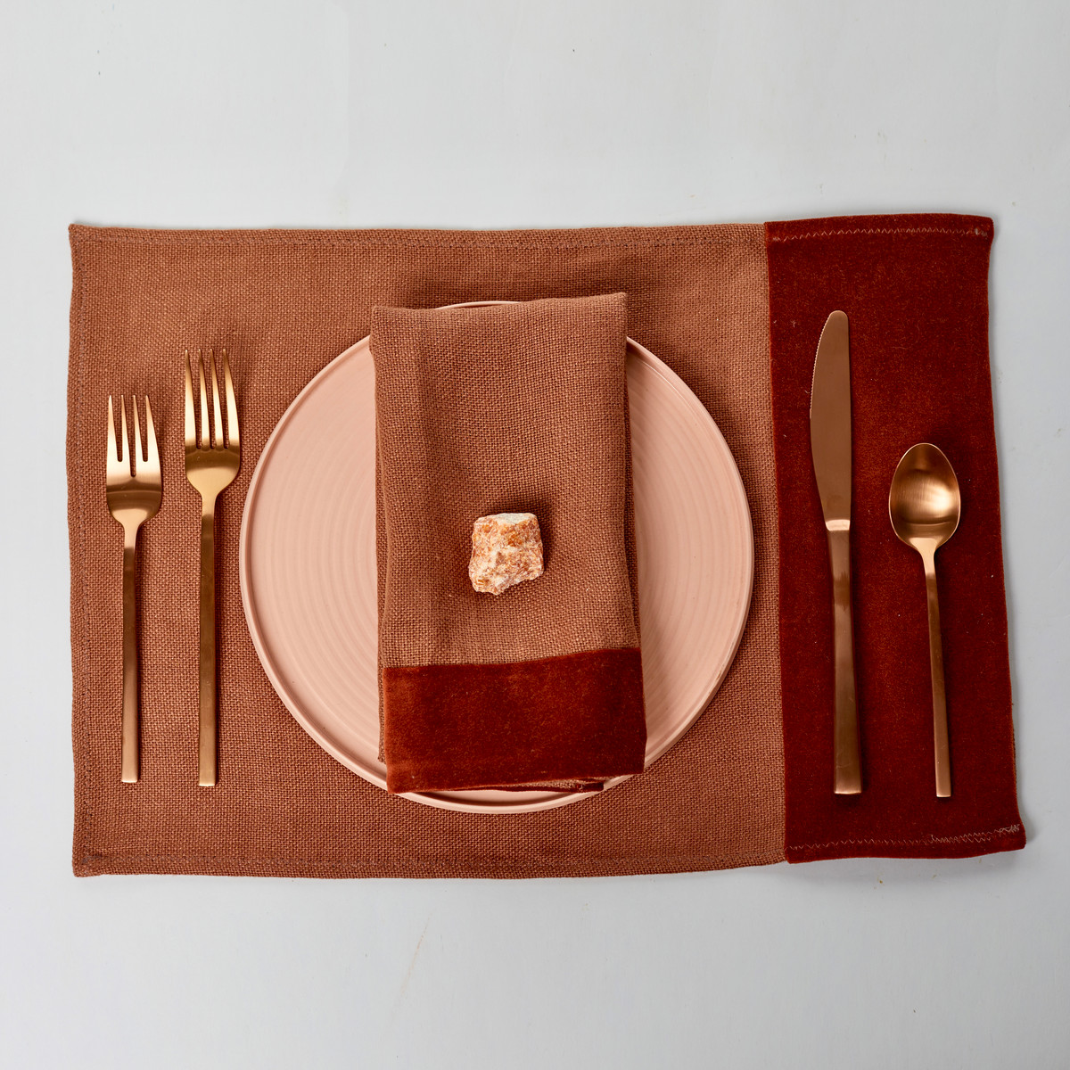 Alexis Red Jasper Linen Placemat - Place Setting