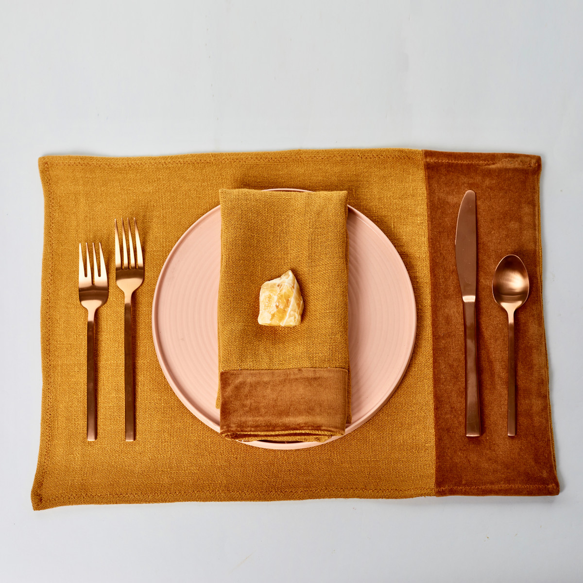 Alexis Golden Topaz Linen Placemat - Place Setting