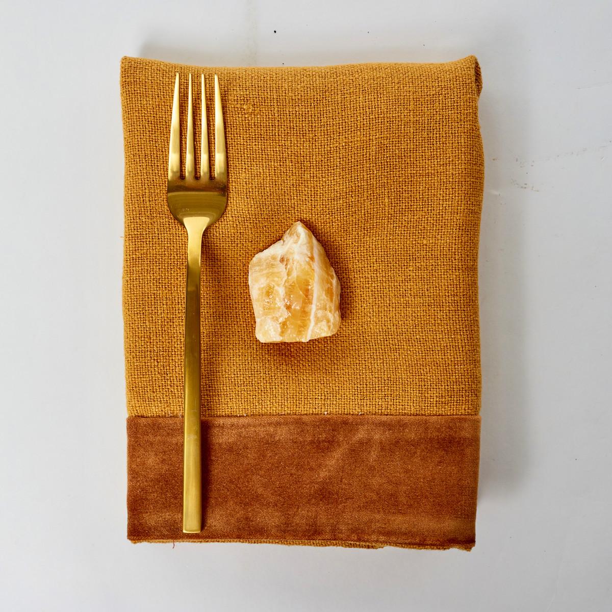 Alexis Napkin - Golden Topaz Velvet and Mustard Linen- Styled
