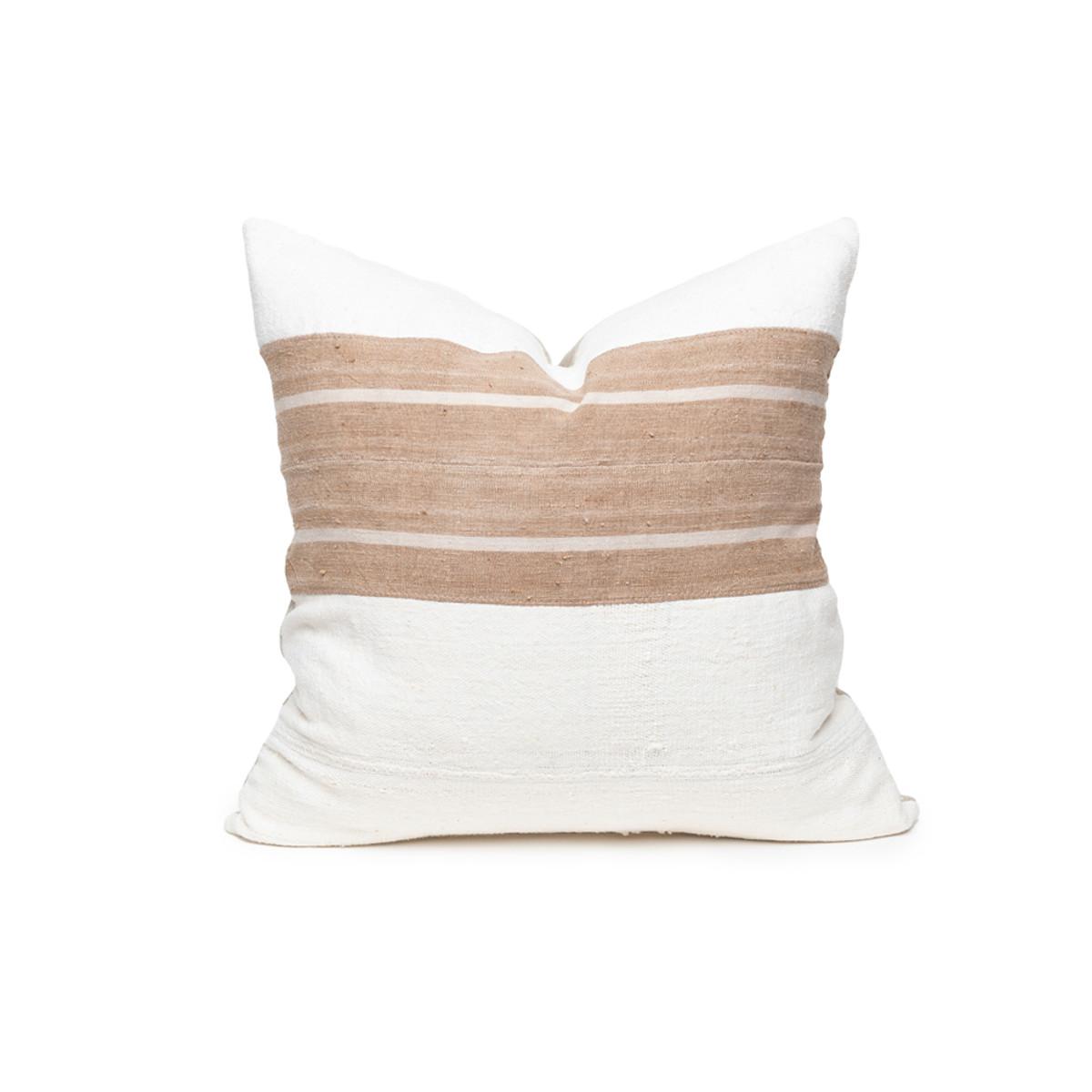 White Sands Vintage Textile Mud Cloth Pillow  - 20 - Front View