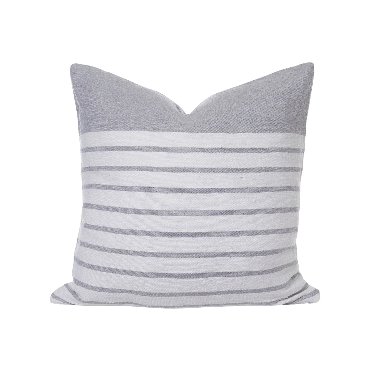 Sailor Gray and White Stripe Pillow - Front