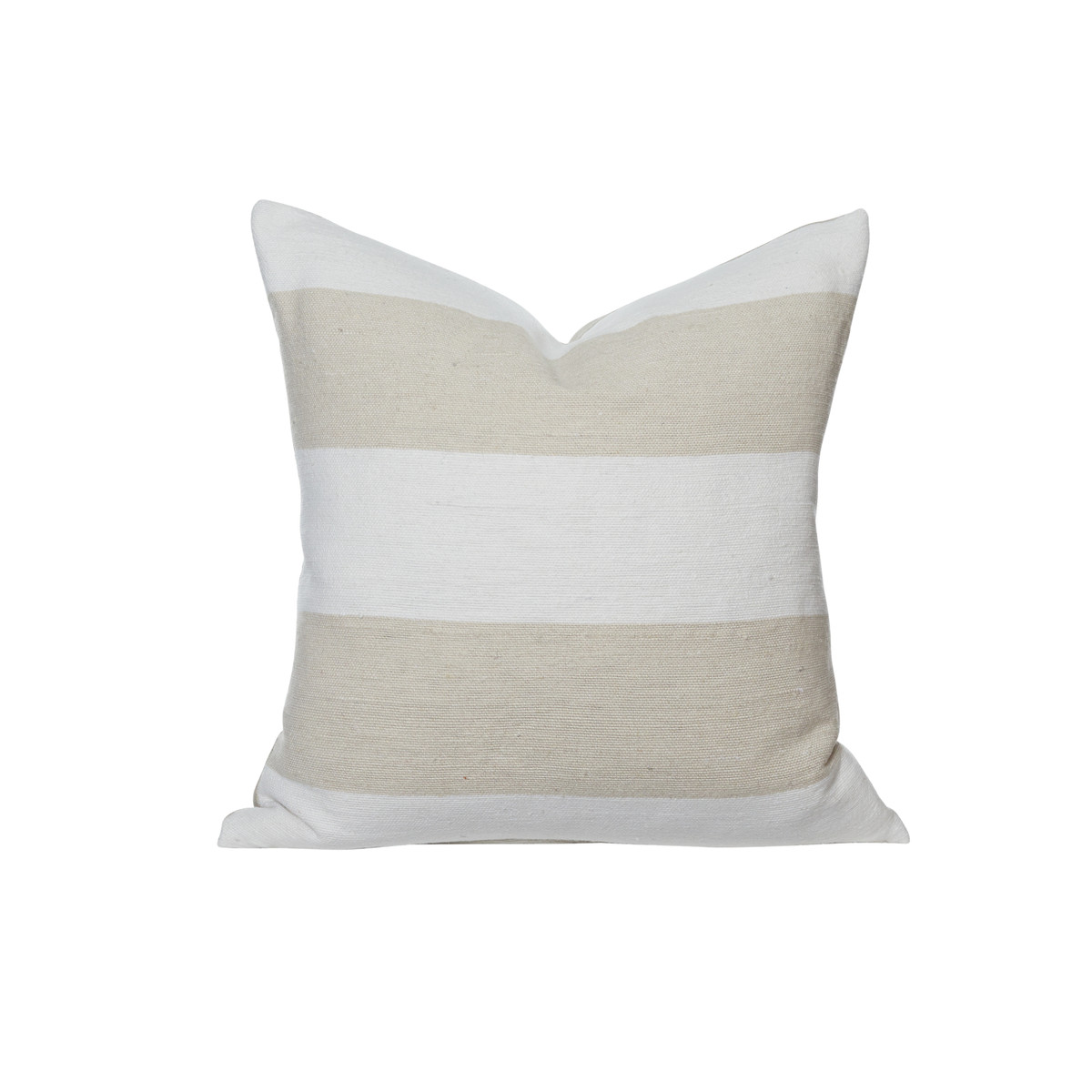 Salt Pillow Ivory and White Woven Stripe Moroccan Pillow  - Front