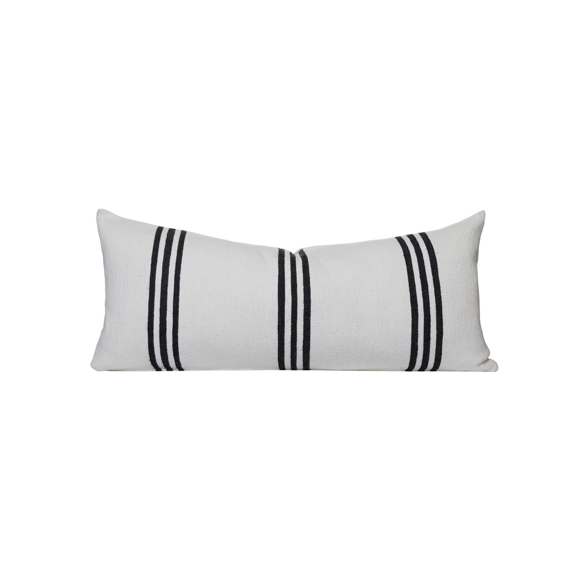 Three Stripe White with Black Stripe Decorative Lumbar Bed Pillow - Front