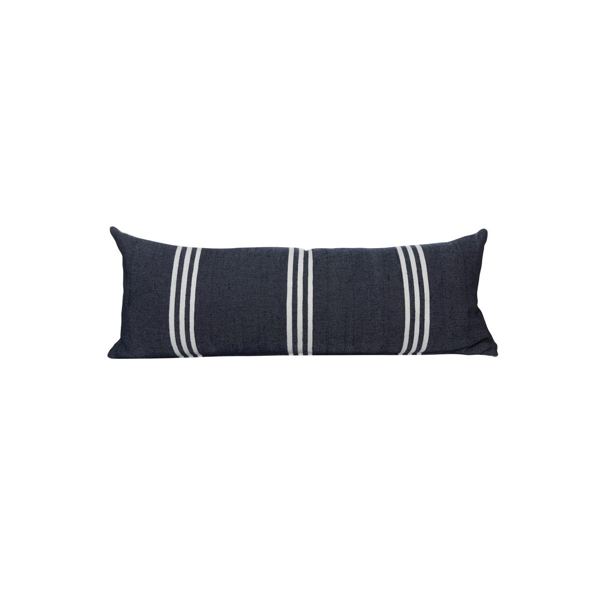 Black Three Stripe  14 x 36 Decorative Lumbar - Front