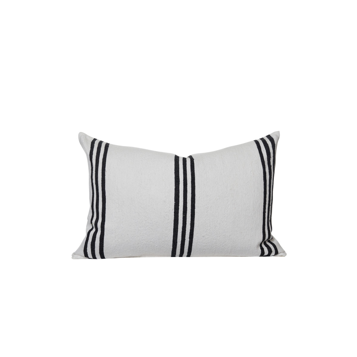 Three Stripe White and Black Cotton Stripe Moroccan Decorative Lumbar Pillow - front
