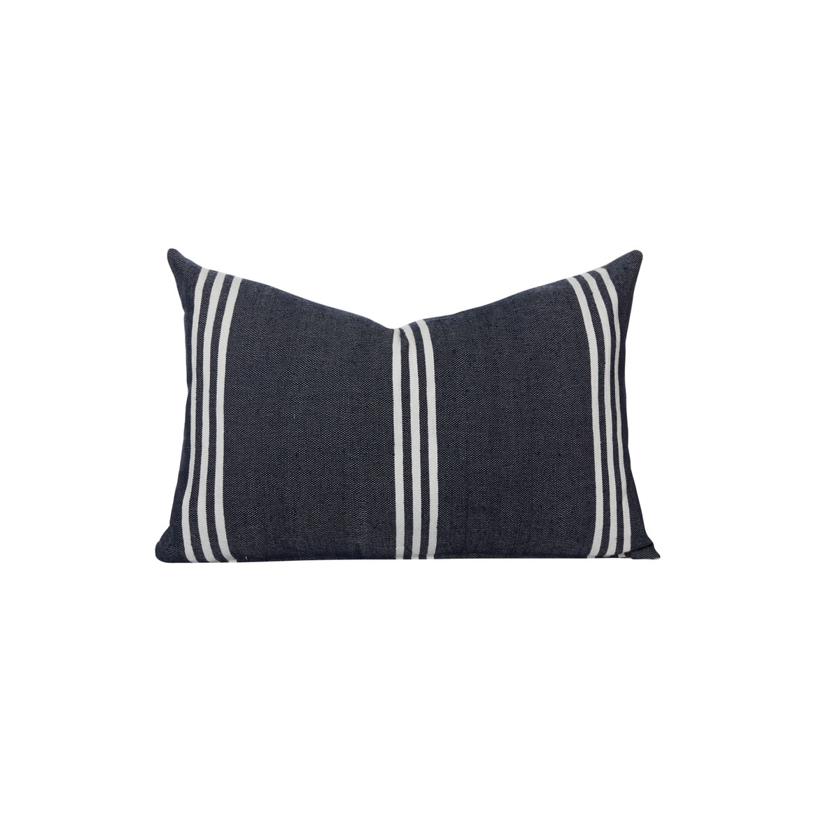 Three Stripe Navy and White Cotton Stripe Moroccan Decorative Lumbar Pillow - front