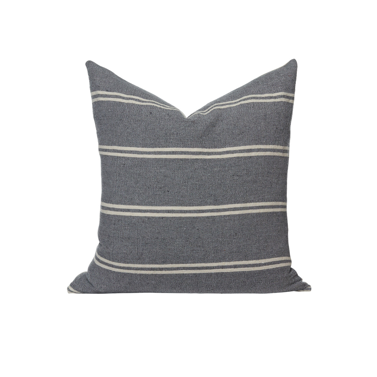 Capri Hand Loomed Stripe Pillow Front - French Gray - Front
