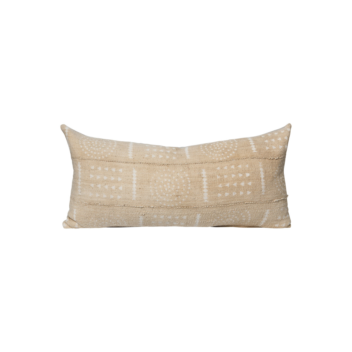 Wheat and Ivory Mud Cloth 14 x 27 Lumbar Pillow - Front