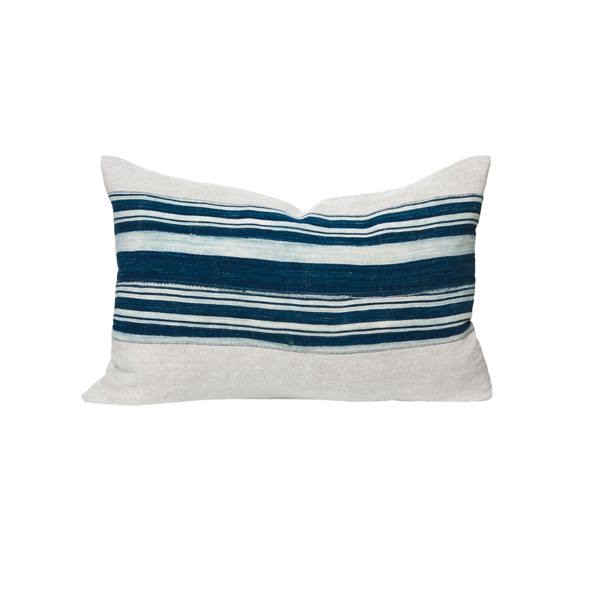 Olyn African Indigo Striped Pillow - Front