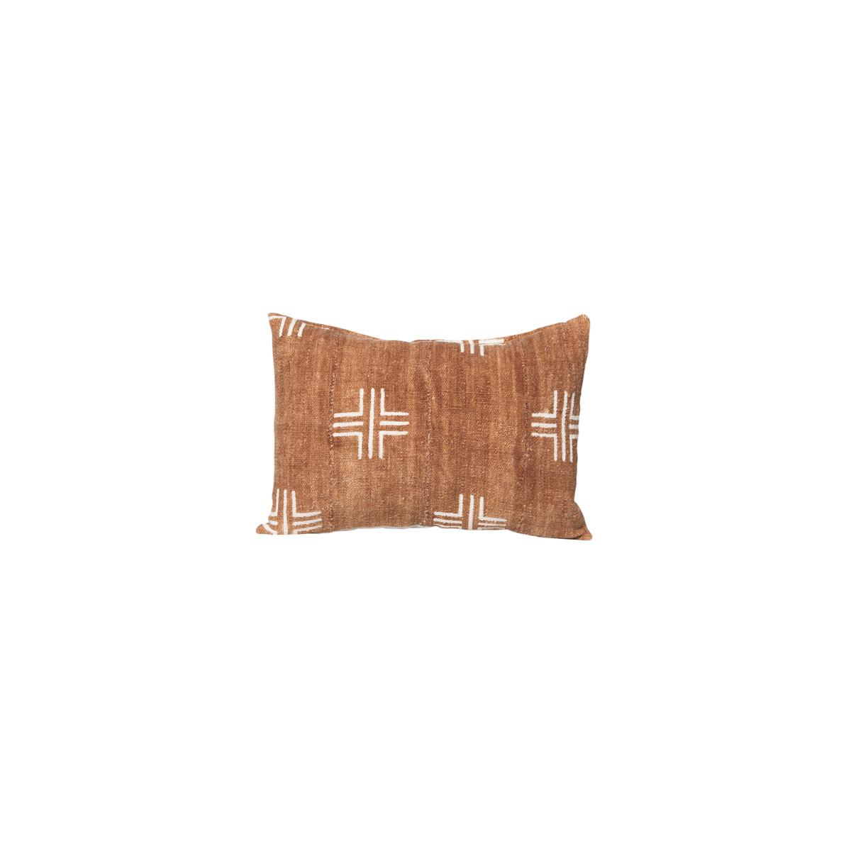 Taos Lumbar - Mud Cloth Rust Cross Pillow 14 x 20 - Front
