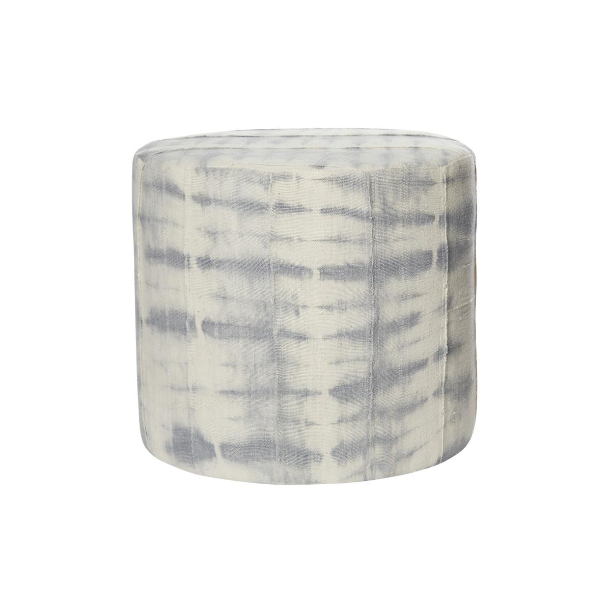 Kushi Gray Tie Dye Mud Cloth Pouf - Front