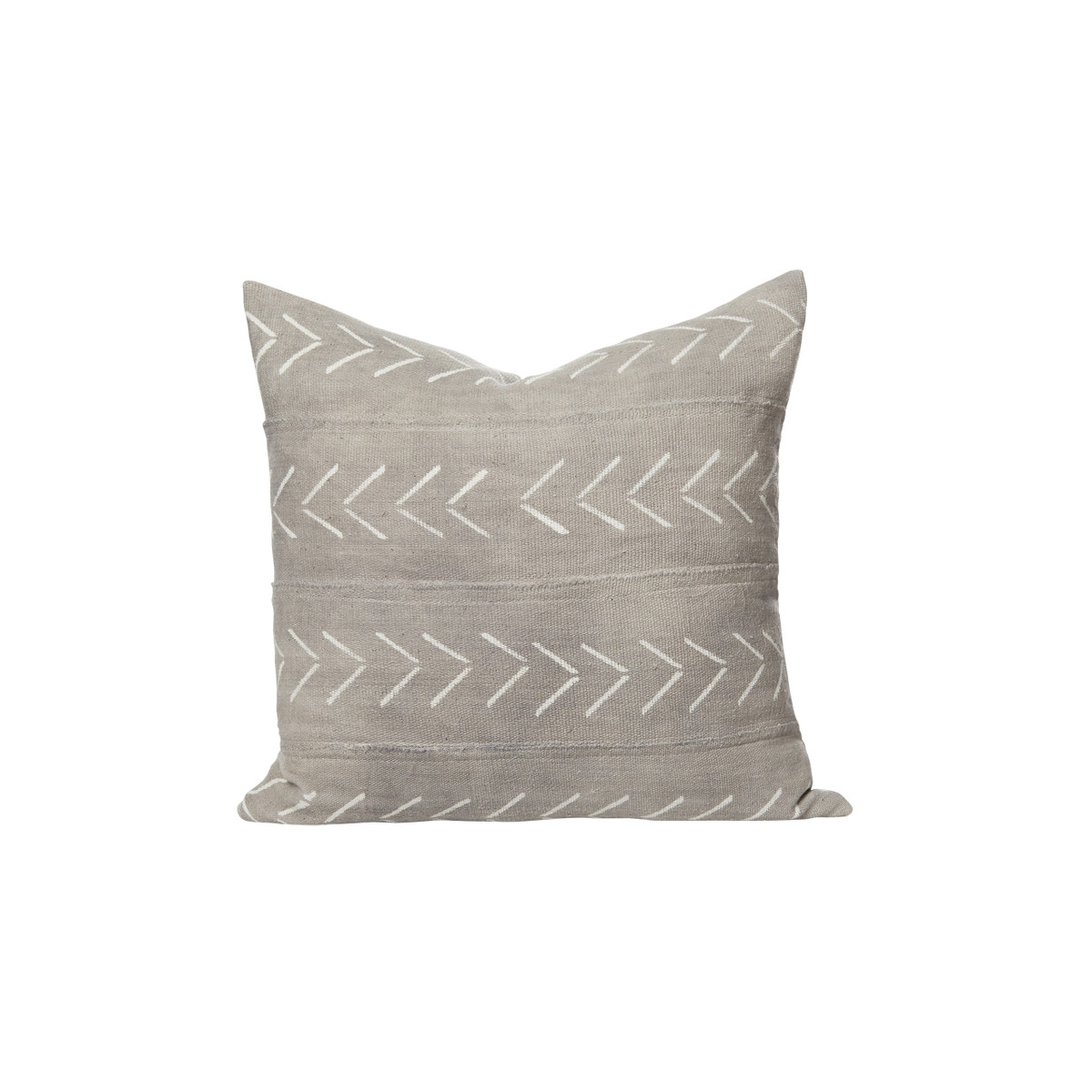 Carson Gray Mud Cloth Pillow - Front