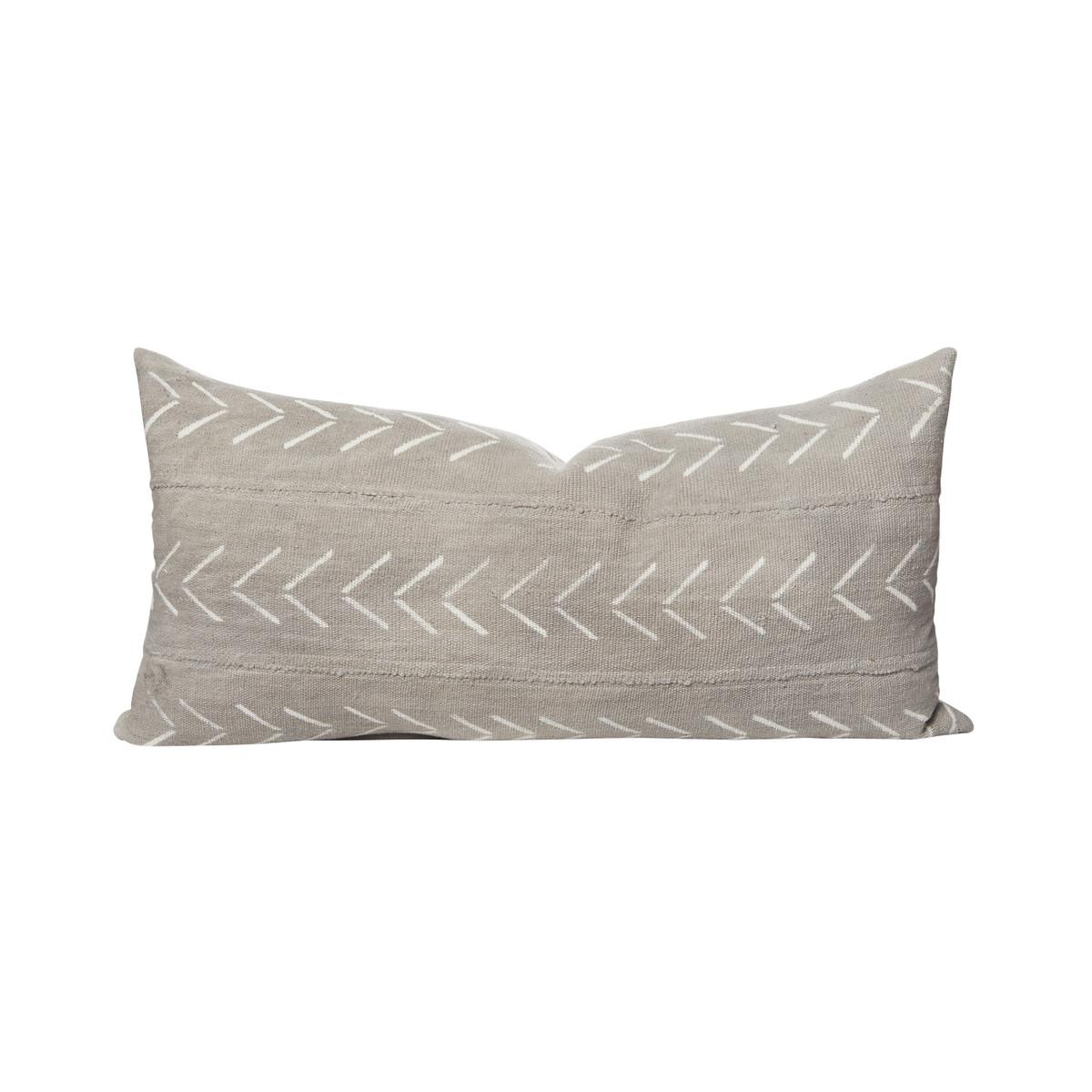 Ace Gray Arrow Mud Cloth Lumbar Pillow 14 x27 - Front
