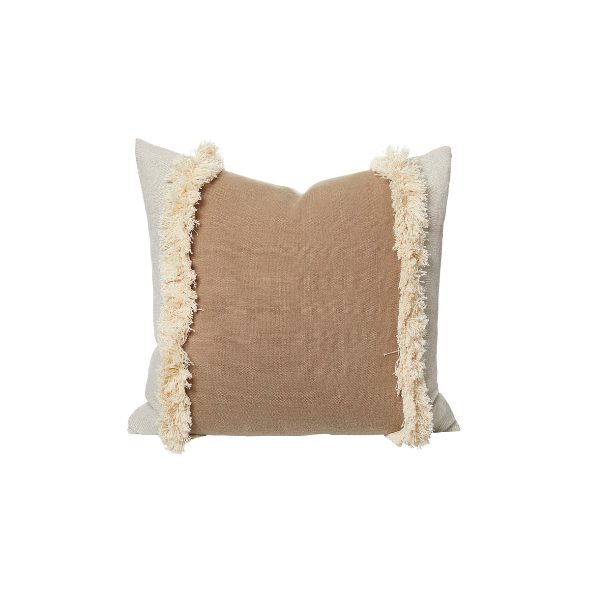Muse Fringe Linen Pillow Stone - Front