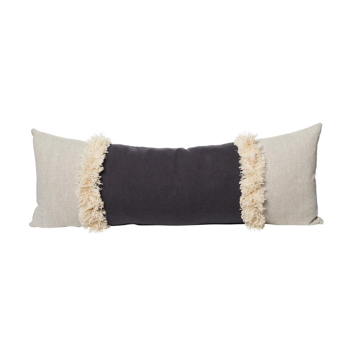 Muse Linen Lumbar Fringe Pillow Carbon - Front