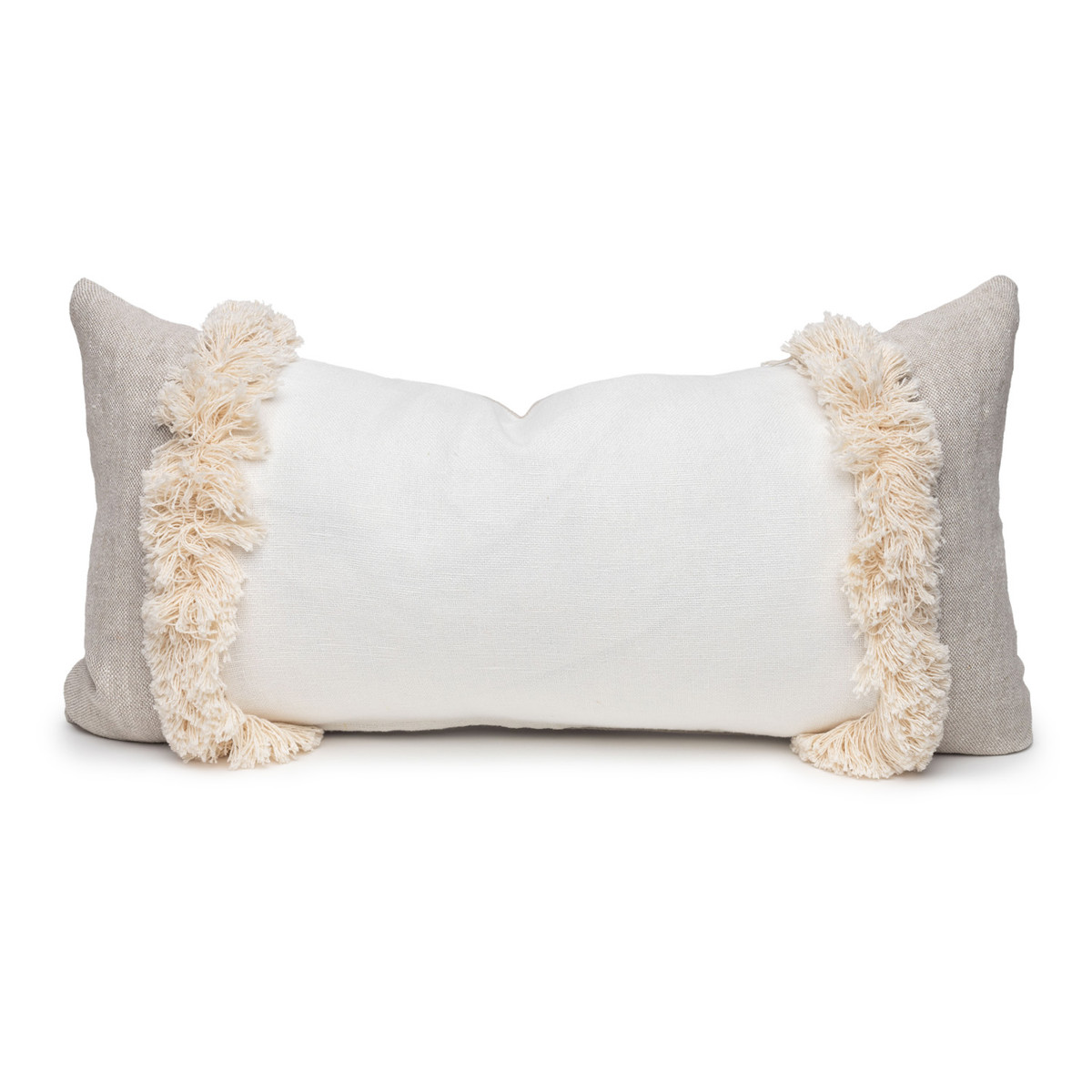 Muse Linen Lumbar Fringe Pillow Blanc-  14 x 27 - Front View